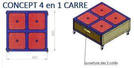 CONCEPT 4 EN 1 CARRE 600X600 AVEC 1 GRAND TIROIR
